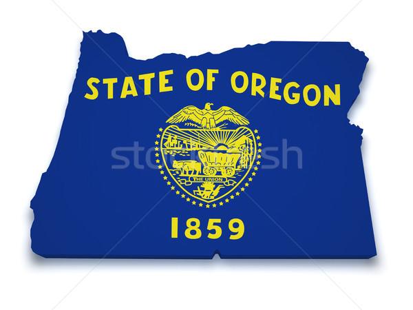 Oregón mapa 3D forma bandera aislado Foto stock © NiroDesign