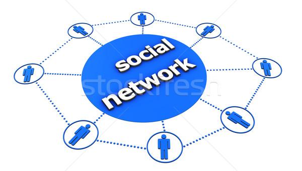 Social network centrale segno blu icona persone Foto d'archivio © NiroDesign