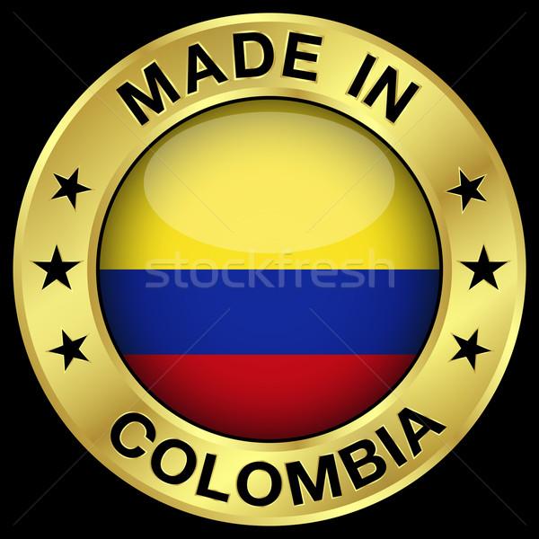 Colombia kitűző arany ikon központi fényes Stock fotó © NiroDesign