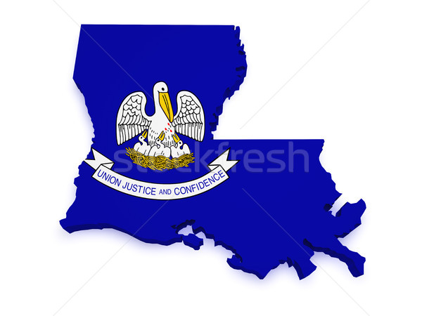 Louisiana Map 3d Shape Stock photo © NiroDesign