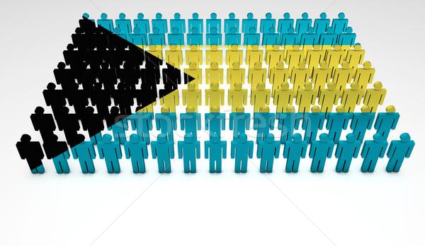 バハマ フラグ パレード 3次元の人々 先頭 表示 ストックフォト © NiroDesign