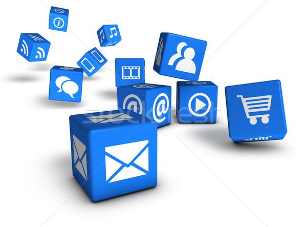 Site internet os ícones do web azul Foto stock © NiroDesign