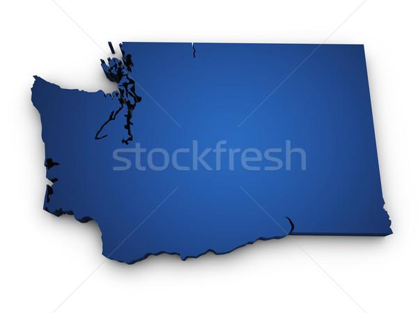 Kaart Washington 3D vorm gekleurd Blauw Stockfoto © NiroDesign