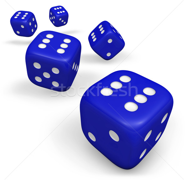 Blue Rolling Dice Stock photo © NiroDesign