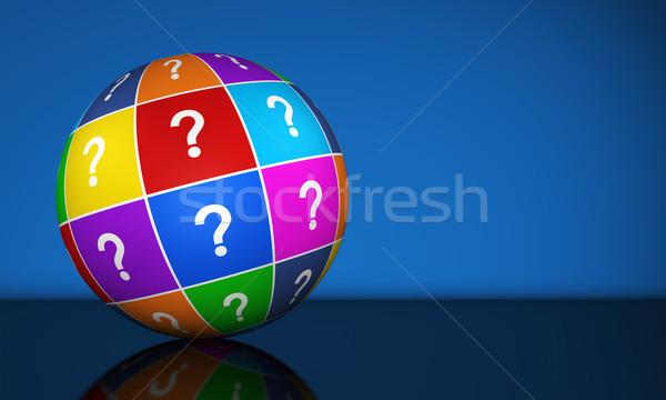 Punto di domanda mondo simbolo icona colorato illustrazione 3d Foto d'archivio © NiroDesign