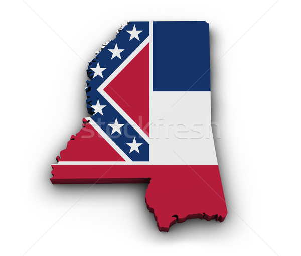 Mississipi bayrak harita biçim 3D yalıtılmış Stok fotoğraf © NiroDesign