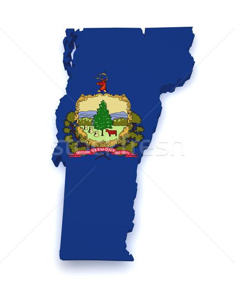 Vermont mapa 3D forma bandera aislado Foto stock © NiroDesign