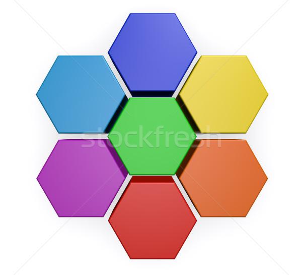 бизнеса шестиугольник диаграммы диаграмма проект управления Сток-фото © NiroDesign