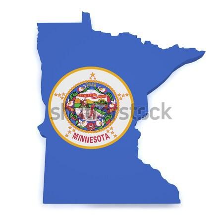 Stok fotoğraf: Minnesota · harita · bayrak · biçim · 3D · yalıtılmış