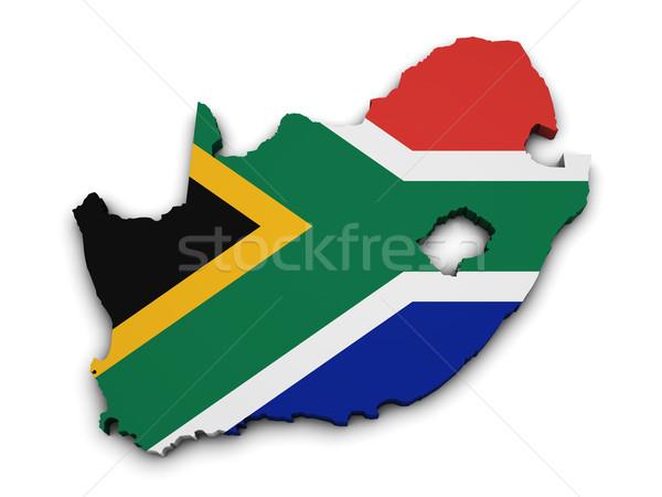 South Africa vlag kaart vorm 3D geïsoleerd Stockfoto © NiroDesign