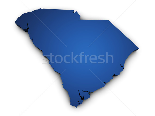 Mapa South Carolina 3D forma azul Foto stock © NiroDesign