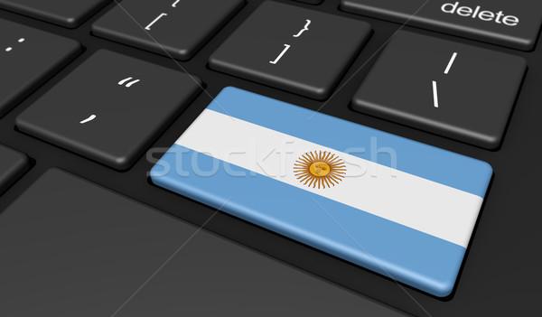 Argentina bandeira computador botão chave digital Foto stock © NiroDesign