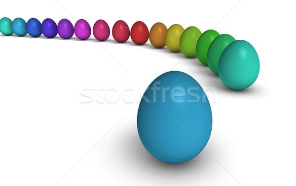 Easter eggs fila bianco Pasqua felice Foto d'archivio © NiroDesign