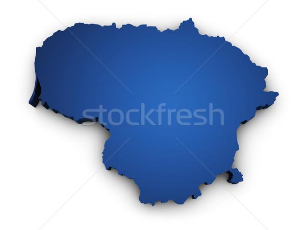 Mappa Lituania 3D colorato blu Foto d'archivio © NiroDesign