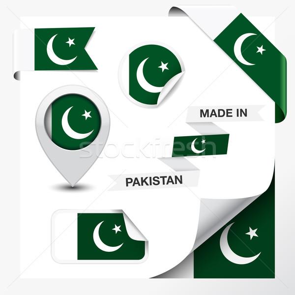 Pakisztán gyűjtemény szalag címke matricák kitűző Stock fotó © NiroDesign