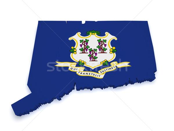Connecticut mapa 3D forma bandeira isolado Foto stock © NiroDesign