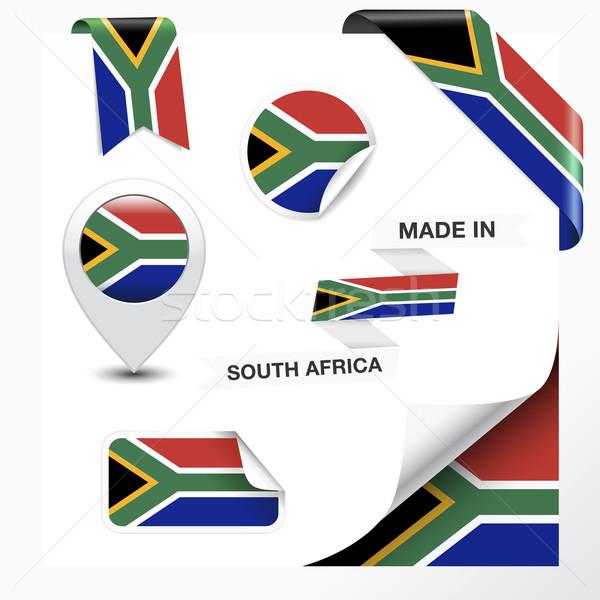 Güney Afrika toplama şerit etiket rozet Stok fotoğraf © NiroDesign