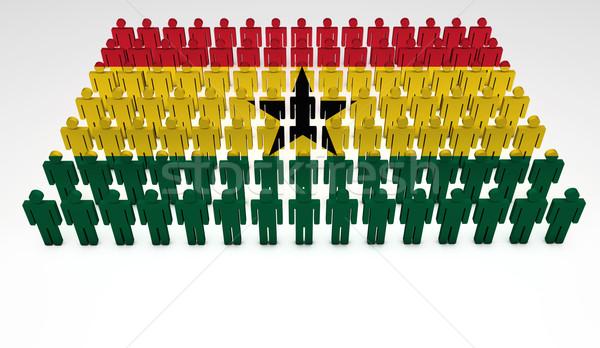Ghana banderą parada 3d osób górę widoku Zdjęcia stock © NiroDesign