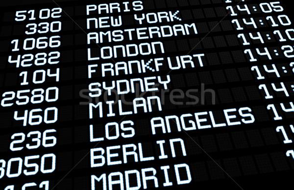 Internazionali aeroporto bordo display partenze Foto d'archivio © NiroDesign
