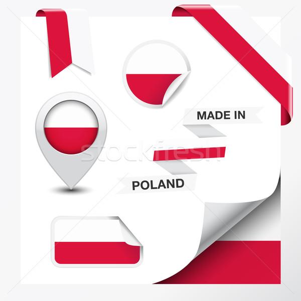 Polonia colección cinta etiqueta pegatinas placa Foto stock © NiroDesign