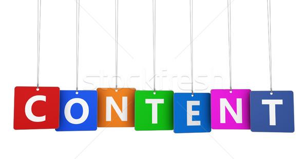содержание маркетинга веб seo Интернет маркетинг знак Сток-фото © NiroDesign