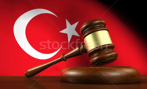 Turco legge giuridica giustizia rendering 3d martelletto Foto d'archivio © NiroDesign