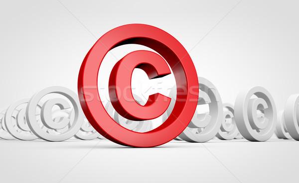 Direitos autorais símbolo propriedade intelectual vermelho ícone ilustração 3d Foto stock © NiroDesign