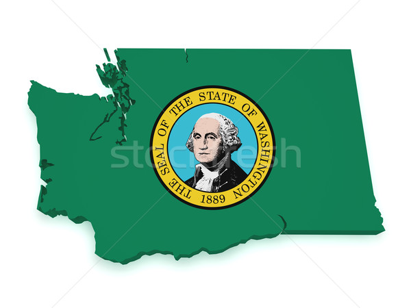 Washington kaart 3D vorm vlag geïsoleerd Stockfoto © NiroDesign