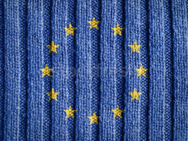 Europe Flag On Wool Texture Stock photo © NiroDesign