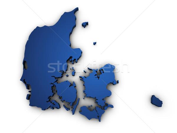 Kaart Denemarken 3D vorm gekleurd Blauw Stockfoto © NiroDesign