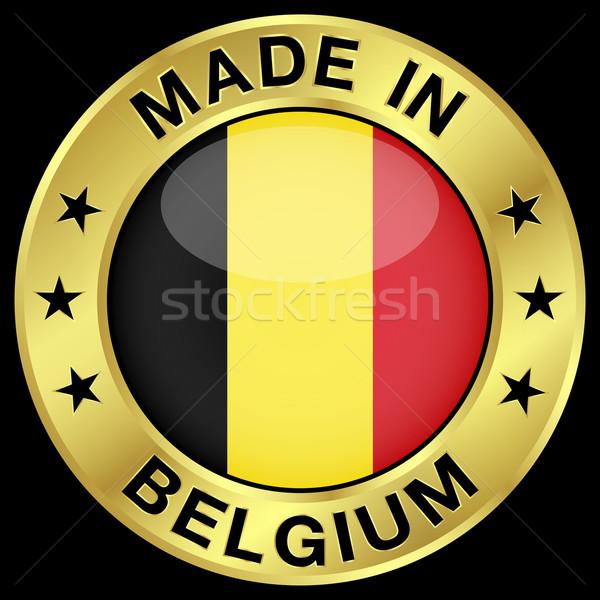 Belçika altın rozet ikon merkezi parlak Stok fotoğraf © NiroDesign