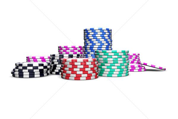 Poker chips isolato bianco riviste volantini Foto d'archivio © NiroDesign