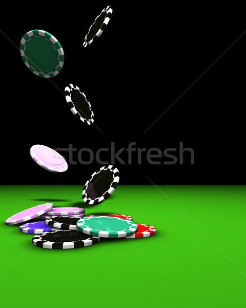 Poker Gambling Chips Falling Stock photo © NiroDesign