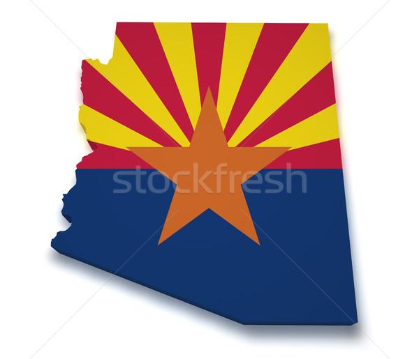 Arizona kaart 3D vorm vlag geïsoleerd Stockfoto © NiroDesign