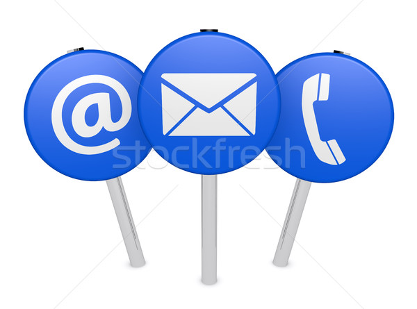 Web Contact Us Icon On Sign Post Stock photo © NiroDesign