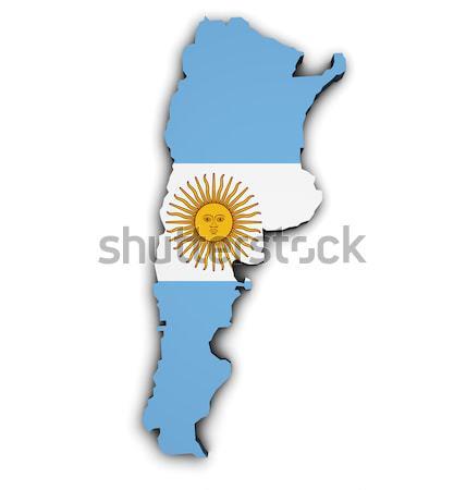 Argentina bandeira mapa forma 3D ilustração Foto stock © NiroDesign