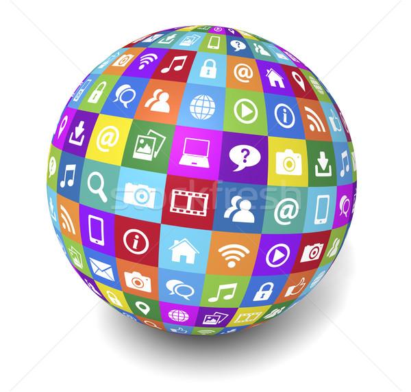 Web Internet sosyal medya dünya sosyal ağ teknoloji Stok fotoğraf © NiroDesign