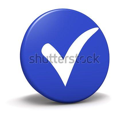 Verificare simbolo blu pulsante icona Foto d'archivio © NiroDesign