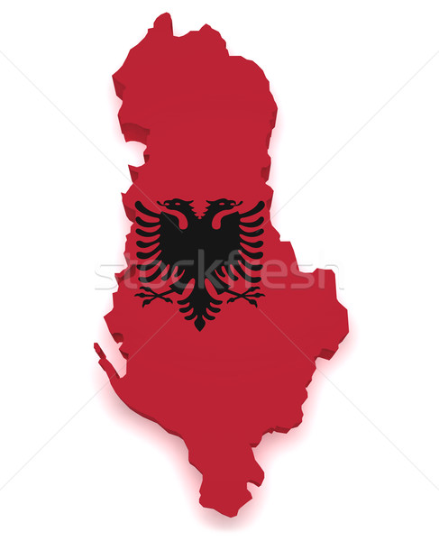 Albania Flag Map 3d Shape Stock photo © NiroDesign