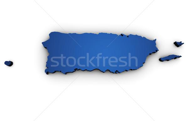 Kaart Puerto Rico 3D vorm gekleurd Blauw Stockfoto © NiroDesign