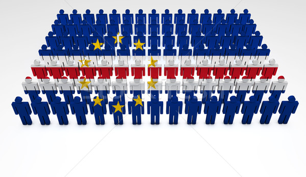 Banderą parada 3d osób górę widoku kopia przestrzeń Zdjęcia stock © NiroDesign