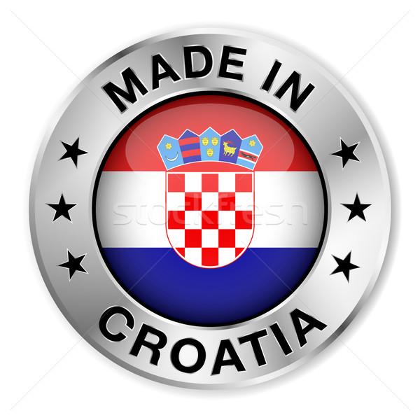Horvátország ezüst kitűző ikon központi fényes Stock fotó © NiroDesign