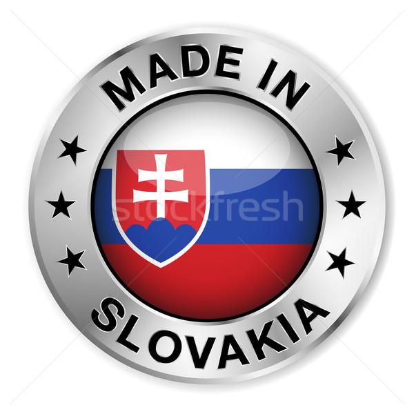 Slovacchia argento badge icona centrale lucido Foto d'archivio © NiroDesign