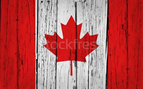 Canada pavillon grunge bois drapeau canadien peint Photo stock © NiroDesign