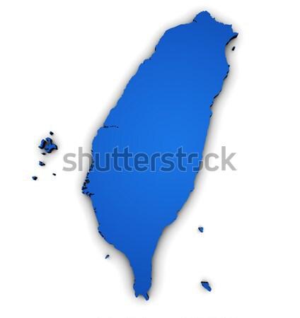 Mapa Tunísia 3D forma azul Foto stock © NiroDesign
