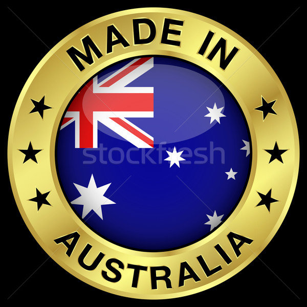Australia oro badge icona centrale lucido Foto d'archivio © NiroDesign