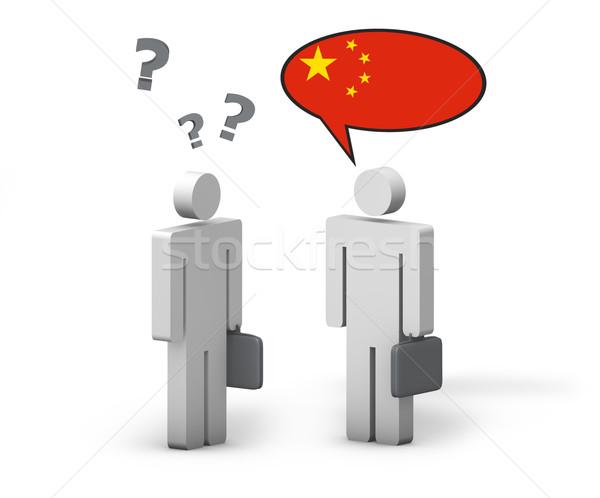 Negócio chinês mandarim linguagem engraçado conversa Foto stock © NiroDesign