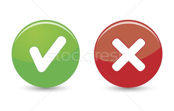 Stok fotoğraf: Web · simgeleri · yeşil · kırmızı · düğmeler · beyaz