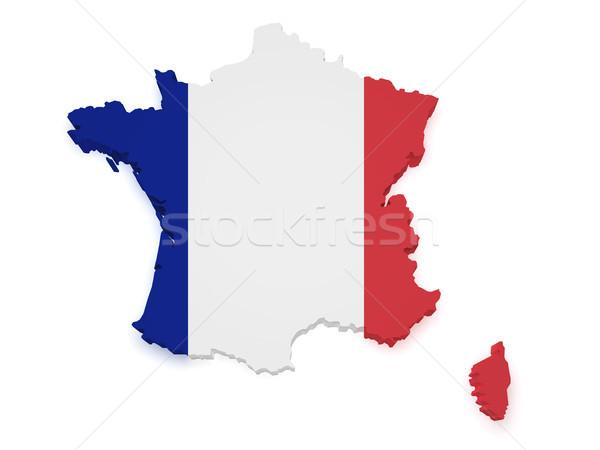 Stok fotoğraf: Fransa · harita · bayrak · 3D · biçim · yalıtılmış