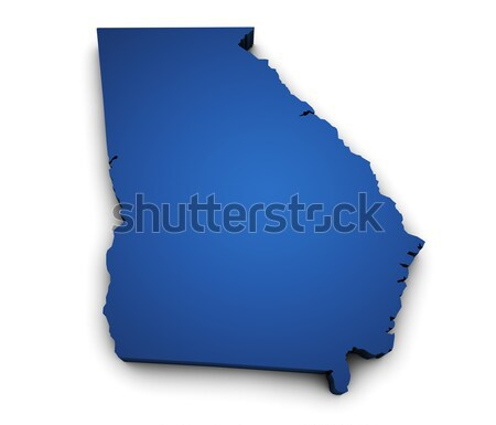 Kaart Georgië 3D vorm gekleurd Blauw Stockfoto © NiroDesign